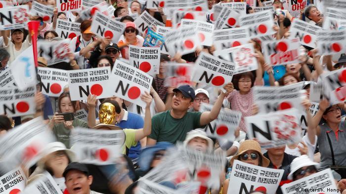 Südkorea l Anti-Japan-Kundgebung in der Nähe der japanischen Botschaft in Seoul