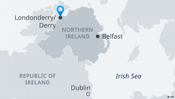 A map of Northern Ireland and the Republic of Ireland showing Londonderry, Belfast, Dublin and the Irish border. (DW)
