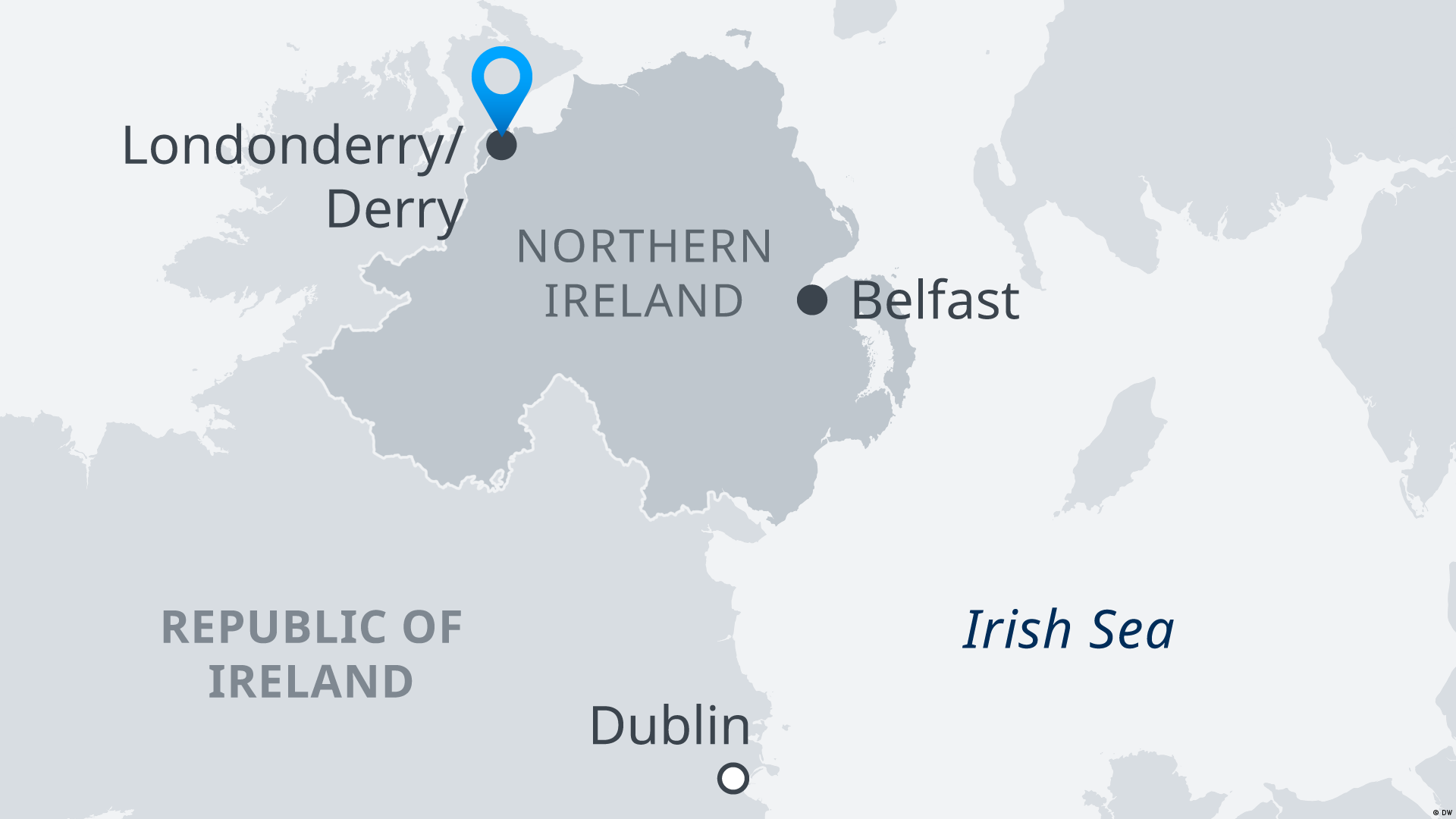Map of Londonderry/Derry in Northern Ireland