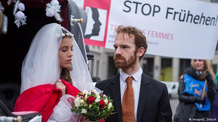 Terre the Femmes put on a staged forced wedding as part of a protest against the practice. Berlin, October 25, 2015.