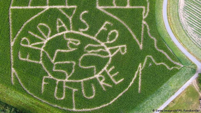 The words Fridays for Future have been mown into a corn field