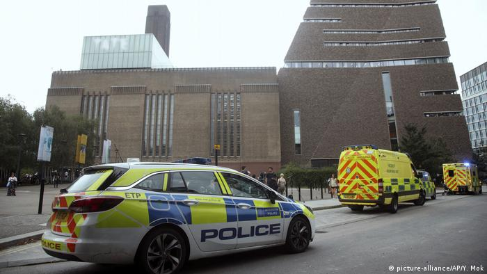 Police and ambulances respond to the scene of an accident at the Tate Modern art gallery in London