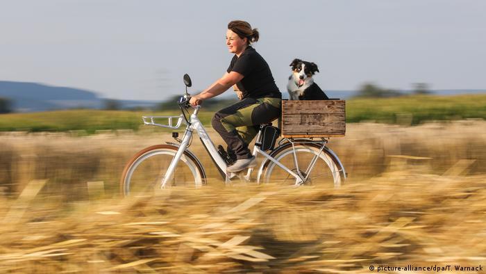 Eine Frau fährt mit einem Hund im Korb auf dem Gepäckträger an einem Getreidefeld vorbei