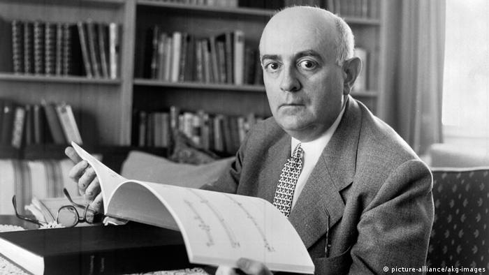 The 20th century philosopher and music theorist, Theodor Adorno, with a musical manuscript