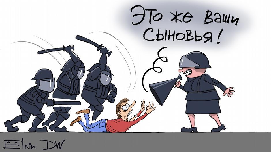 Karikatur von Sergey Elkin zu Zynismus der Regierung bei Protesten in Moskau