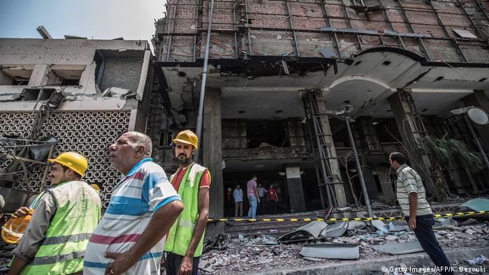 The aftermath of an explosion outside the National Cancer Institute (ICI) in Cairo
