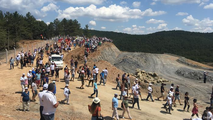 Protesters at a mine construction site in Turkey