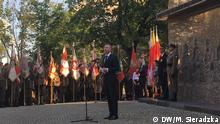 Gedenken an das Wola-Massaker (im Warschauer Aufstand 1944), bei dem 50.000 Zivilisten getötet wurden. Rede von Nikolas Häckel, Bürgermeister der Gemeinde Sylt, am Denkmal des Wola-Massakers in Warschau, 5.08.2019