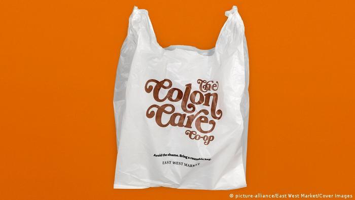 Plastic bag that says 'the colon care co-op'