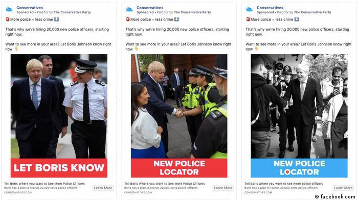 Скриншот рекламной кампании Бориса Джонсона в Facebook