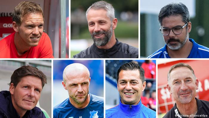 Bundesliga coaches Julian Nagelsmann, Marco Rose, David Wagner, Oliver Glasner, Alfred Schreuder, Ante Covic, Achim Beierlorzer (picture-alliance/dpa)