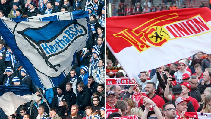 Club flags for Hertha Berlin and Union Berlin