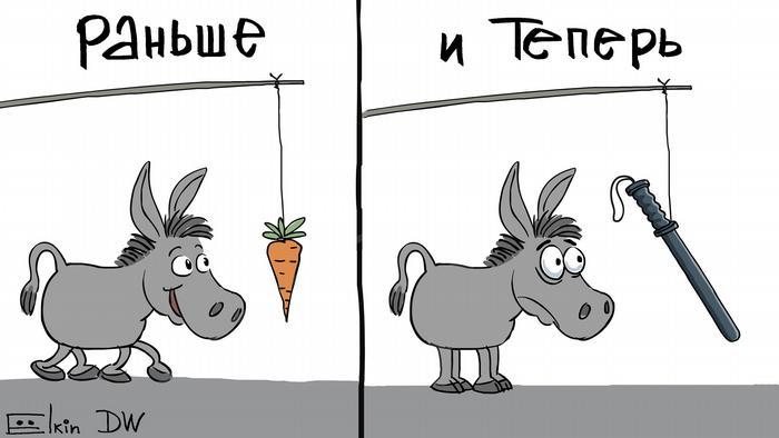 Elkin Karikatur Strategie der Macht bei Protesten in Moskau
