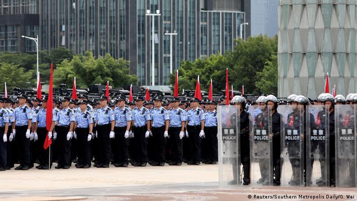 Chinese police assembled for training in Shenzhen