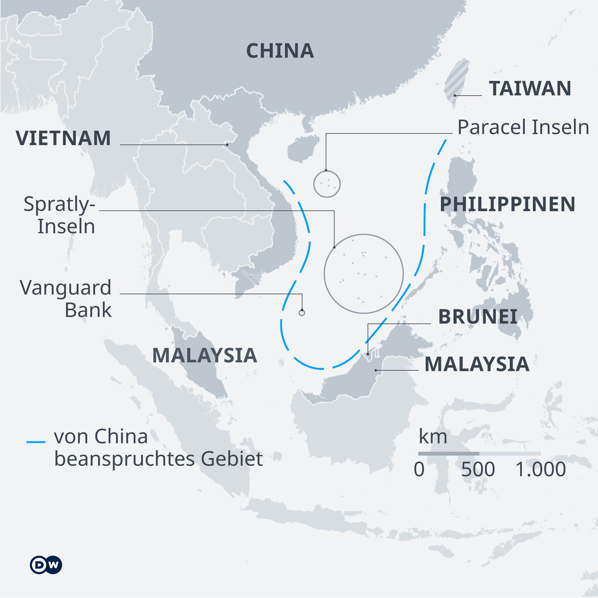 Infografik Karte Südchinesisches Meer DE