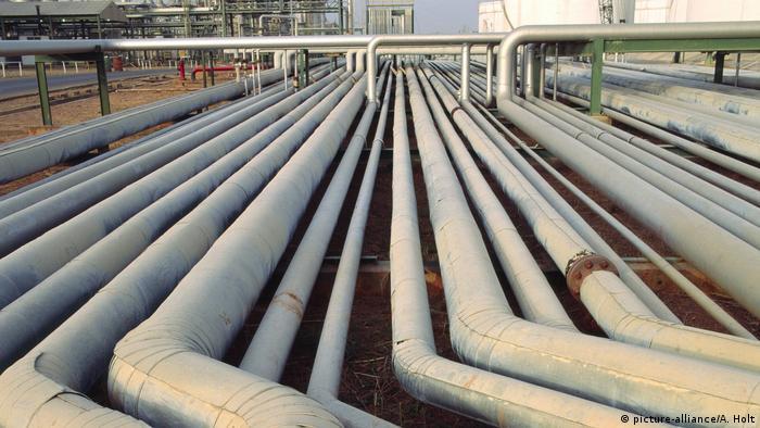 Dozens of oil pipelines at a refinery in Nigeria