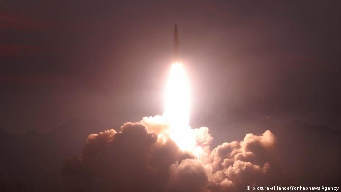 A file image of a North Korean missile test from August 6, 2019