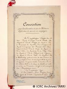 Η πρώτη σελίδα της πρώτης Συνθήκης της Γενεύης που υπεγράφη στις 22 Αυγούστου του 1864