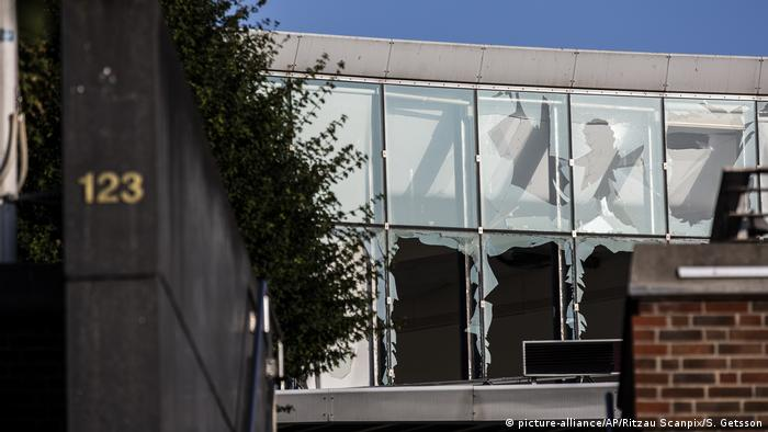 Broken windows that were caused by an explosion to the entrance of the Danish Tax Authority in Copenhagen