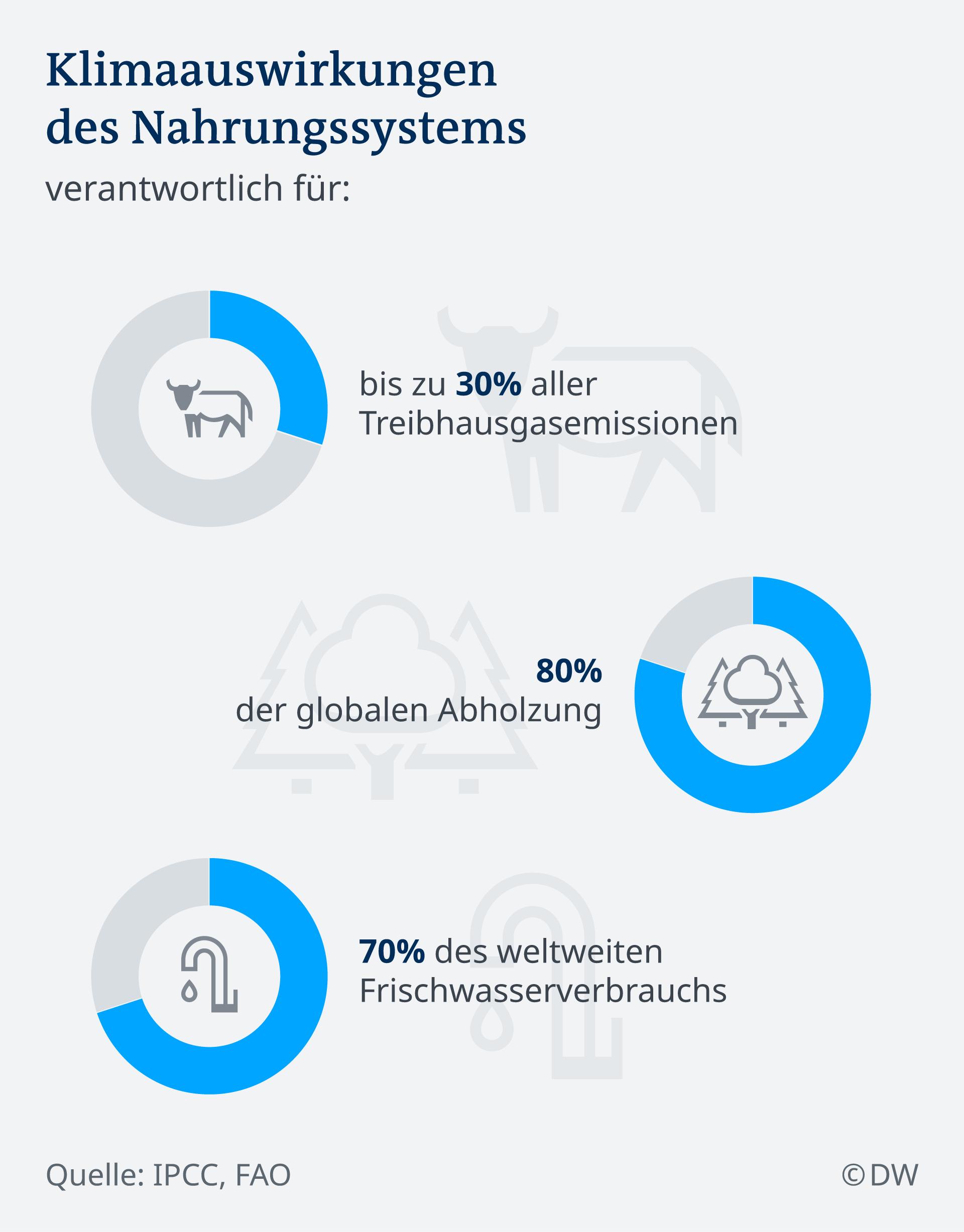 Infografik Klimaauswirkungen des Nahrungssystems DE