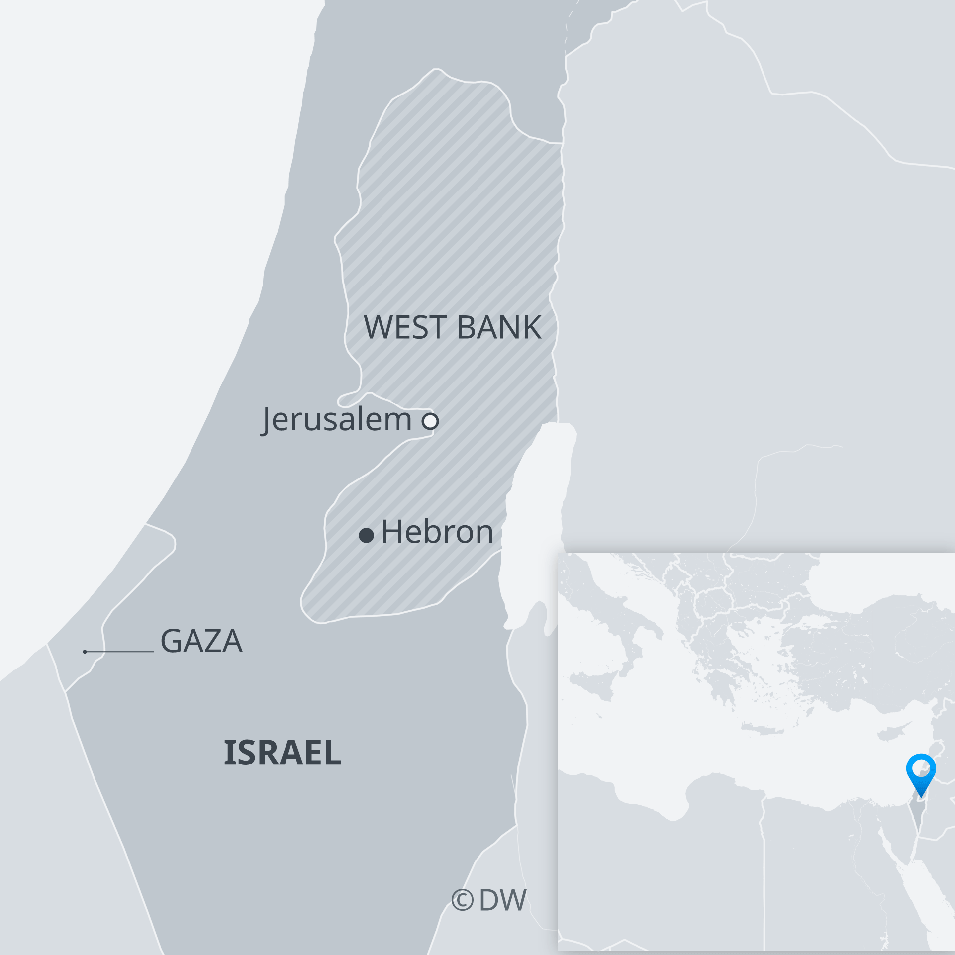 Map showing Gaza Strip and West Bank