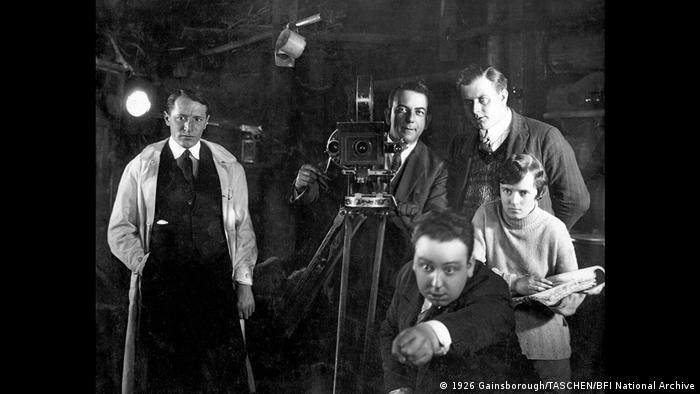 Young Alfred Hitchcock with crew directing a film in 1926 (1926 Gainsborough/TASCHEN/BFI National Archive)
