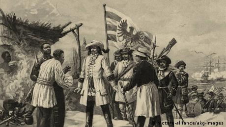 Major Friedrich von der Gröben seizing the colony in 1682 as depicted in an old illustration.