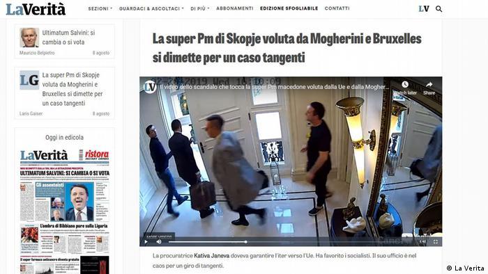 Screenshot von der italianischen Zeitung La Verita über das Skandal in Nordmazedonien
