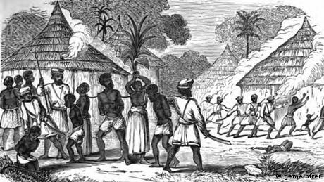 An illustratIon from 1859 shows how an African village is burned down and the villagers are taken into slavery.