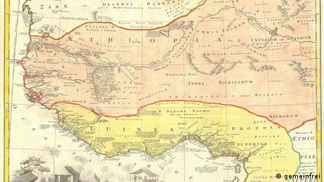 A historical map showing the ports of departure of slaves on the West African coast.
