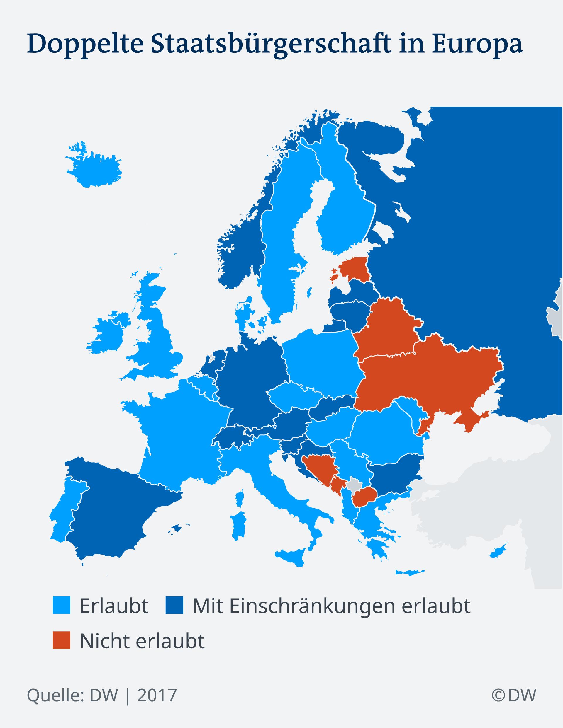 Infografik doppelte Staatsbürgerschaft Europa DE