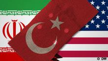 Türkei will zwischen Iran und USA vermitteln --- DW-Grafik 2009_12_08-Iran-USA-Türkei-Vermittelt