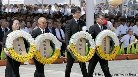 Japan | Bürgermeister von Nagasaki Tomihisa Taue zur Gedenkfeier des 73. Jahrestag des US-Atombombenangriffs (Imago Images/Kyodo News)