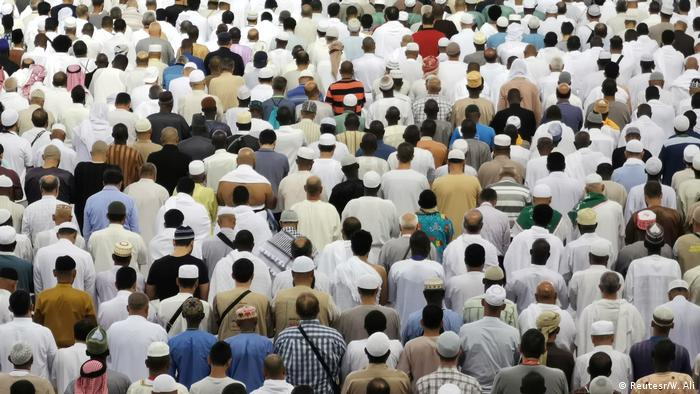 Muslims pray at the Grand Mosque in Mecca