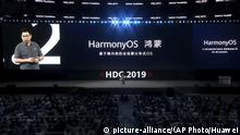 In this image from video released by Huawei, Richard Yu, CEO of Huawei Consumer Business Group, speaks during a news conference in Dongguan, China, Friday, Aug. 9, 2019. Huawei unveiled a smartphone operating system that it said can replace Google's Android, adding to the Chinese tech giant's efforts to insulate itself against U.S. sanctions. The announcement of HarmonyOS highlights the growing ability of Huawei, the No. 2 global smartphone brand and biggest maker of network gear for phone carriers, to create technology and reduce its reliance on American vendors. (Huawei via AP) |