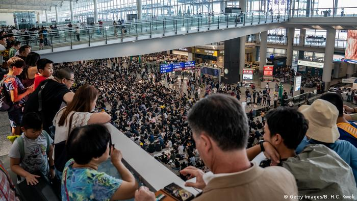 Protesters at Hong Kong's airport (Getty Images/B. H.C. Kwok)