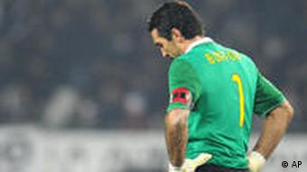 Juventus goalkeeper Gianluigi Buffon reacts at the end of the Champions League, group A, soccer match between Juventus and Bayern Munich at the Olympic Stadium, in Turin, Tuesday Dec. 8, 2009. Juventus lost 4-1.