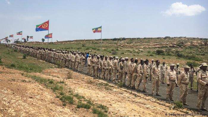 Soldiers marching at the Ethiopia/Eritrea border (Getty Images/AFP/Stringer)