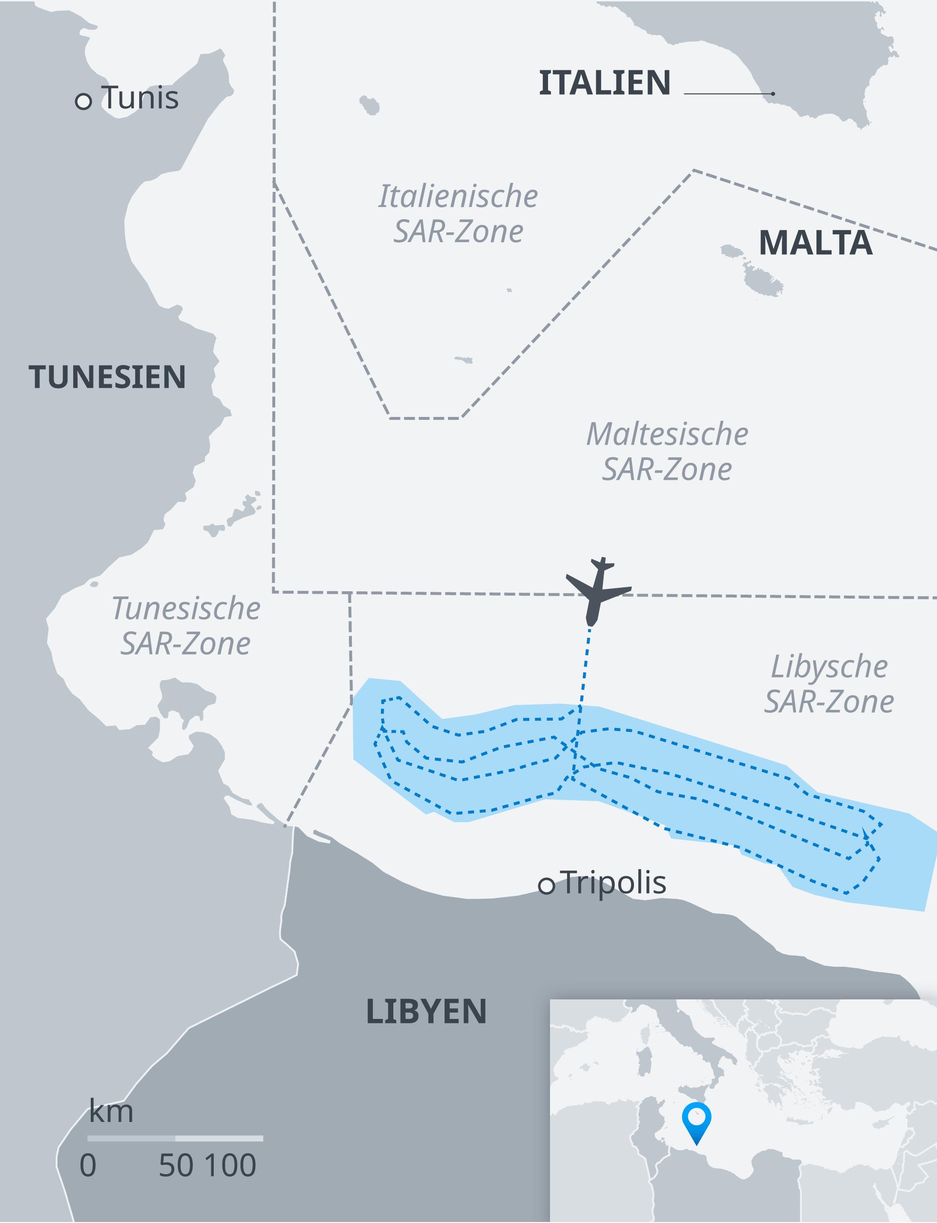 Infografik Karte Flugroute Aufklärungsflugzeug Sea Watch DE