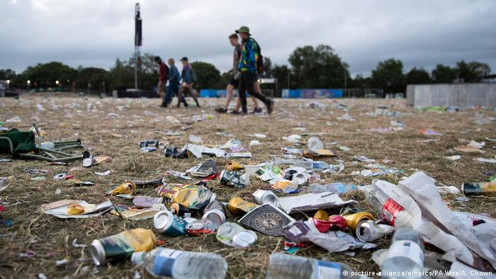 Rubbish left behind at the Glastonbury Festival at Worthy Farm in Somerset