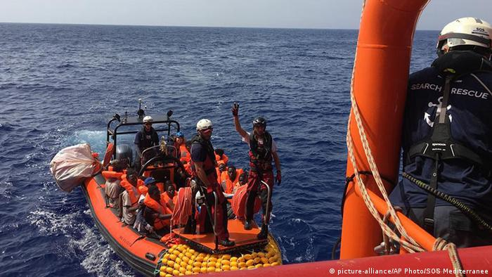 The Ocean Viking migrant ship picks up 80 people from a rubber dinghy off Libya