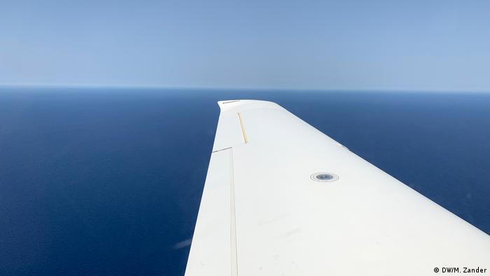 View of the wing of the Sea Watch Moonbird