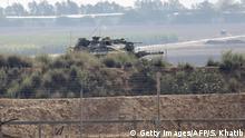 Gaza-Streifen Israelische Armee Panzer an Grenzzaun