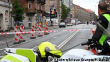 10.08.2019 *** Danish police is seen outside a local police station, following an explosion in Copenhagen, Denmark August 10, 2019. Ritzau Scanpix/Philip Davali via REUTERS ATTENTION EDITORS - THIS IMAGE WAS PROVIDED BY A THIRD PARTY. DENMARK OUT. NO COMMERCIAL OR EDITORIAL SALES IN DENMARK.