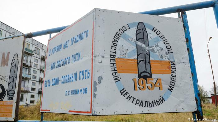 A sign near the village of Nyonoksa shows a missile (Reuters/Stringer)