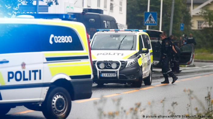 Norwegian police outside a mosque near Oslo