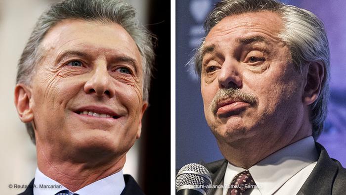 Presidente da Argentina, Mauricio Macri, e candidato oposicionista Alberto Fernández