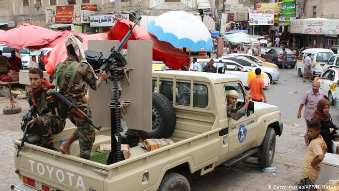 Jemen Krieg STC-Kämpfer (Southern Transitional Council) in Aden