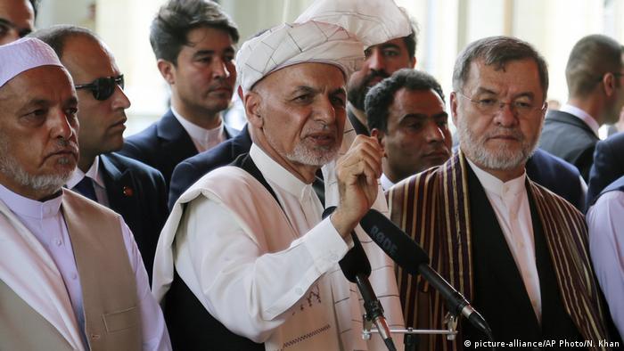 Afghanistan Kabul   Ashraf Ghani nach Gebet zum Opferfest