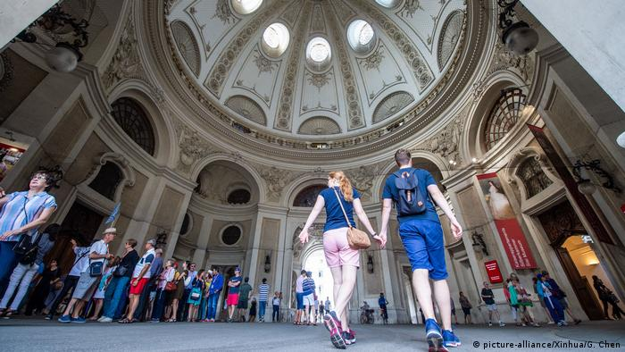 Tourists visit the inner city of Vienna, Austria